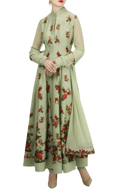 Rohit Bal Pleated floral digital printed anarkali set