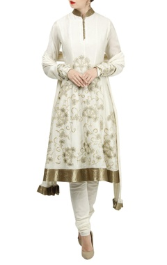 Rohit Bal Zari embroidered chanderi anarkali set