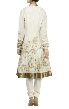Zari embroidered chanderi anarkali set