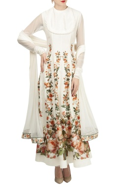 Rohit Bal Rose motif digital printed anarkali set