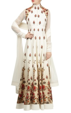 Rohit Bal Rose motif digital printed anarkali set.