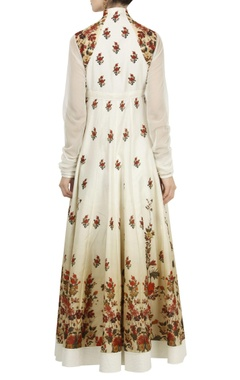 Rose motif digital printed anarkali set