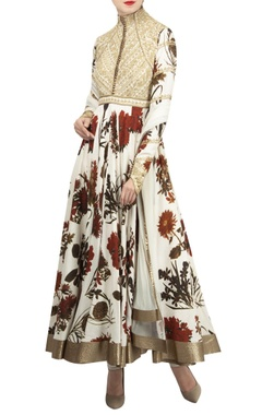Rohit Bal Matka silk embroidered yoke anarkali set