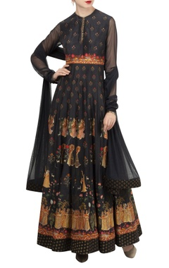 Rohit Bal Hand embroidered & digital printed anarkali set