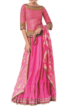 Embroidered long blouse with flared skirt and banarasi dupatta