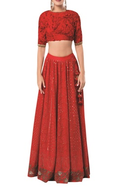 Rocky Star Embroidered lehenga with textured blouse