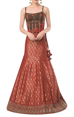 ROCKY STAR Spaghetti sleeves corset with brocade embroidered lehenga