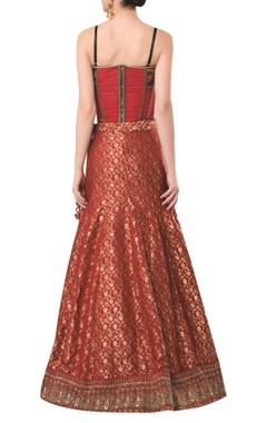 Spaghetti sleeves corset with brocade embroidered lehenga