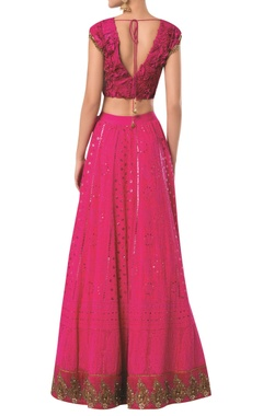 Lucknowi lehenga with textured blouse