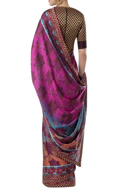 Embroidered border sari with zippered blouse.