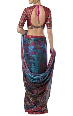 Embroidered blouse with printed sari