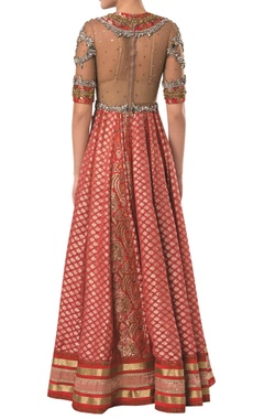 Sheer embroidered bodice brocade gown