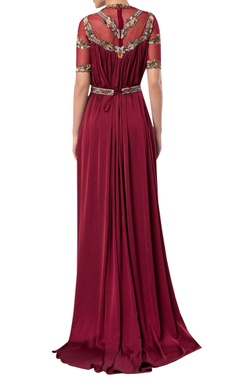 Sheer neckline flared gown