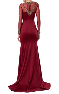 Floor length gown with sheer embroidered neckline
