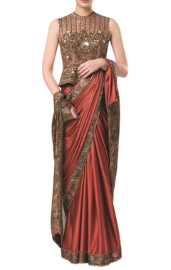 Rocky Star Printed sari with heavy embroidered blouse
