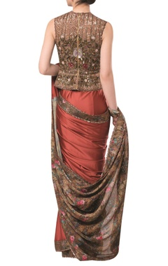 Printed sari with heavy embroidered blouse