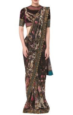 Brocade print sari with embellished blouse
