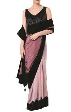 Scallop border saree with embroidered tassel blouse