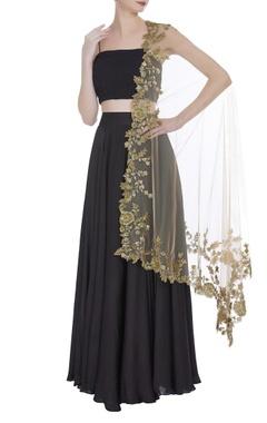 Silk bustier with lehenga & zardozi embroidered dupatta