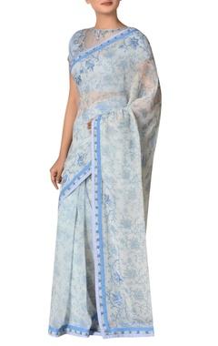 Ritu Kumar Chiffon floral & sequin embroidered sari with blouse
