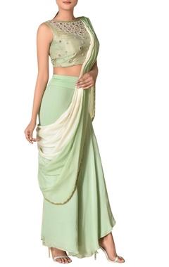 Ritu Kumar Pre-draped crepe concept sari with embroidered blouse