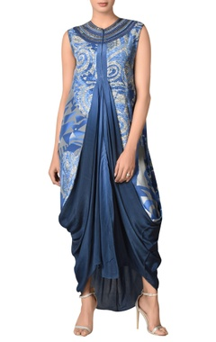 Viscose crepe draped style kurta