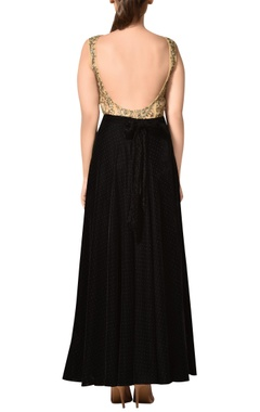 Velvet gota embroidered deep neckline gown