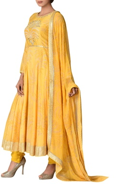 Ritu Kumar Chanderi silk gota embroidered anarkali set