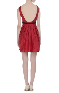 Red voile pleated dress