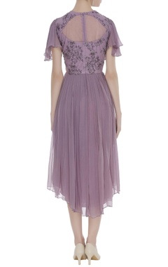 Chiffon asymmetric dress with embroidery