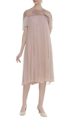 Pleated chiffon pipe bead embroidered dress