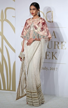 Varun Bahl Floral net sheer sari with cape, blouse & petticoat