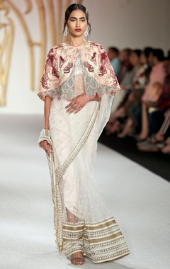 Floral net sheer sari with cape, blouse & petticoat