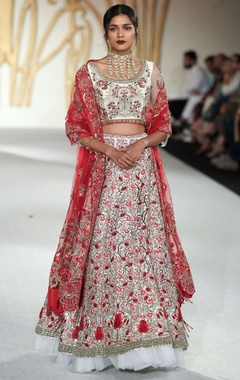 Varun Bahl Raw silk lotus embroidered lehenga set