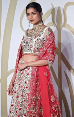 Raw silk lotus embroidered lehenga set