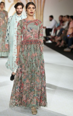Varun Bahl Net floral bead embroidered gown