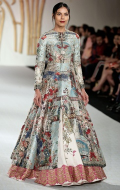 Dupion silk floral printed jacket with lehenga