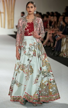 Varun Bahl Dupion silk floral printed lehenga with leotard & jacket