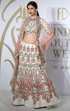 Raw silk floral embroidered sequin lehenga set