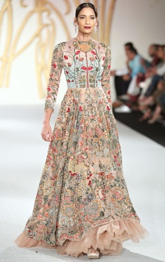 Varun Bahl Net floral embroidered flared gown