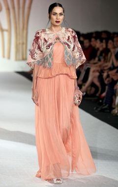 Varun Bahl Peach layered pleated gown with short jacket
