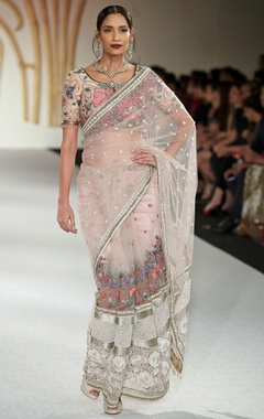 Varun Bahl Net floral embroidered sari set
