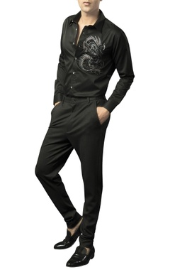 Siddhartha Tytler - Men Lycra-wool fitted formal trousers