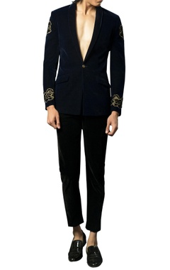 Siddhartha Tytler - Men Velvet embellished dragon motif blazer
