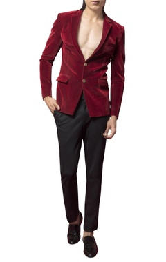 Velvet blazer with crystalized rayon motif