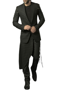 Siddhartha Tytler - Men Plaid blazer with jersey tee & pinstripe trousers
