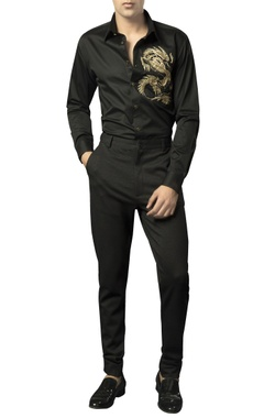 Siddhartha Tytler - Men Button-down shirt with embellished dragon