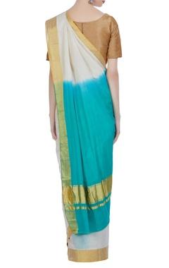 Handloom sari in zari work & unstitched blouse