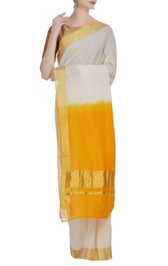 Dual toned dyed handloom zari work sari with unstitched blouse