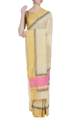 Handloom cotton block printed sari & unstitched blouse